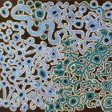 Ned Grant. Titre : Mamu Piti Dreaming Time story. Format :133x103 cm. © Photo : Aboriginal Signature Estrangin gallery with the courtesy of the artist and the Spinifex Art Project.