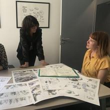 Avec Léonie Bischoff (Anaïs Nin) et Kathy Degreef (attachée de presse) chez Casterman à Paris - Photo de Benoît Mouchart