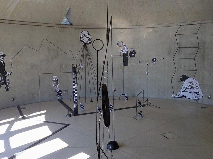 Bastogne - Orangerie 3 - Frédéric Penelle, vue de l'installation Mécaniques discursives, 2015