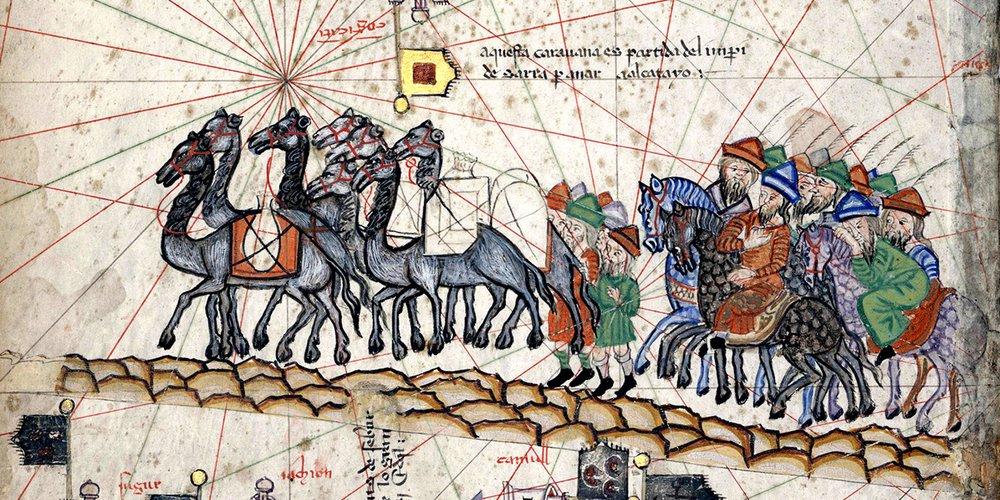 Caravane de Marco Polo - carte de Cresques Abraham, 1375