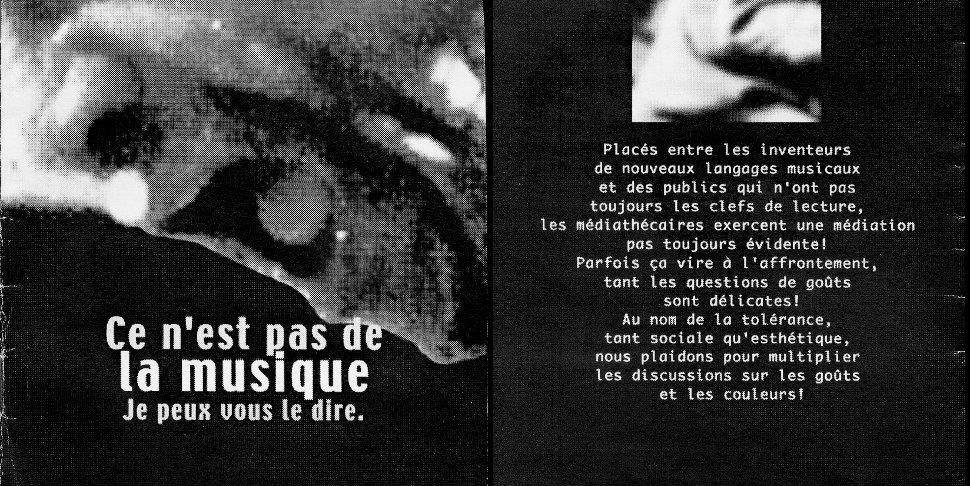 """Cecil Taylor - """"Ce n'est pas de la musique"""" - brochure La Médiathèque (c) 2000"""