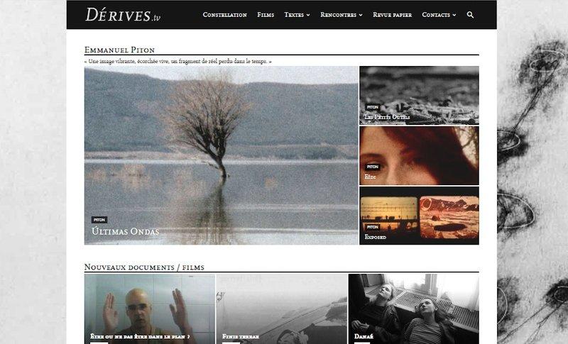 site Derives.tv - capture d'écran, printemps 2020