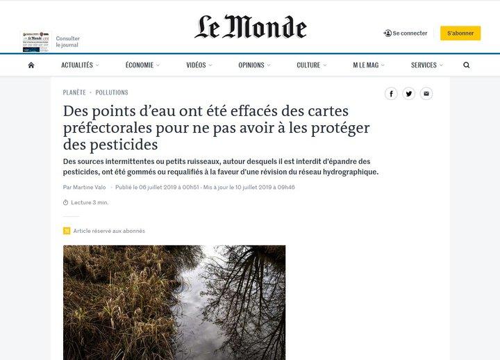 Des points d'eau ont été éffacés - article du journal Le Monde (6 juillet 2019)