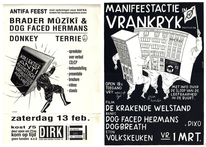 Dog Faced Hermans - two gig posters - Wilf Plum