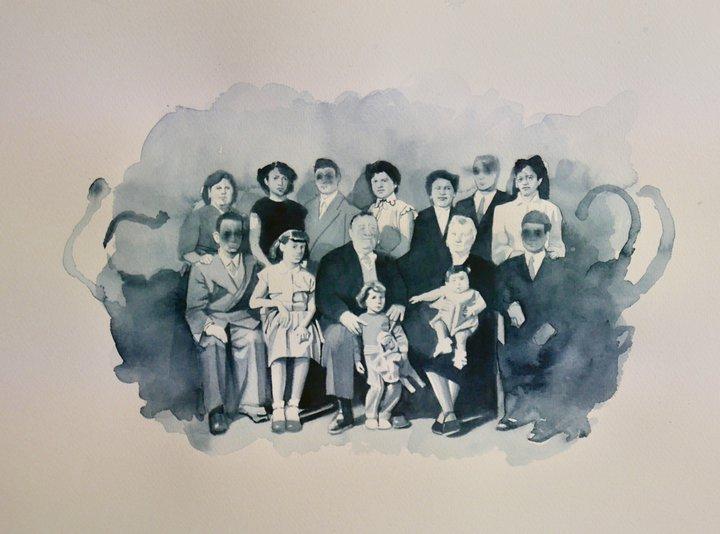 Famille Cammilleri, 2017, aquarelle sur papier  Giulia Andreani © Courtesy de l'artiste et de la Galerie Max Hetzler  Collection du MNHI.tiff