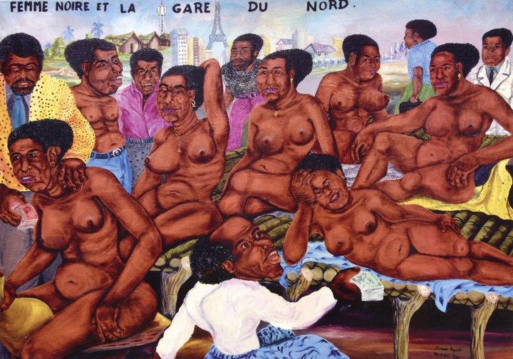 Femme noire et la gare du Nord - (c) Simon Kipulu - Musée africain de Namur
