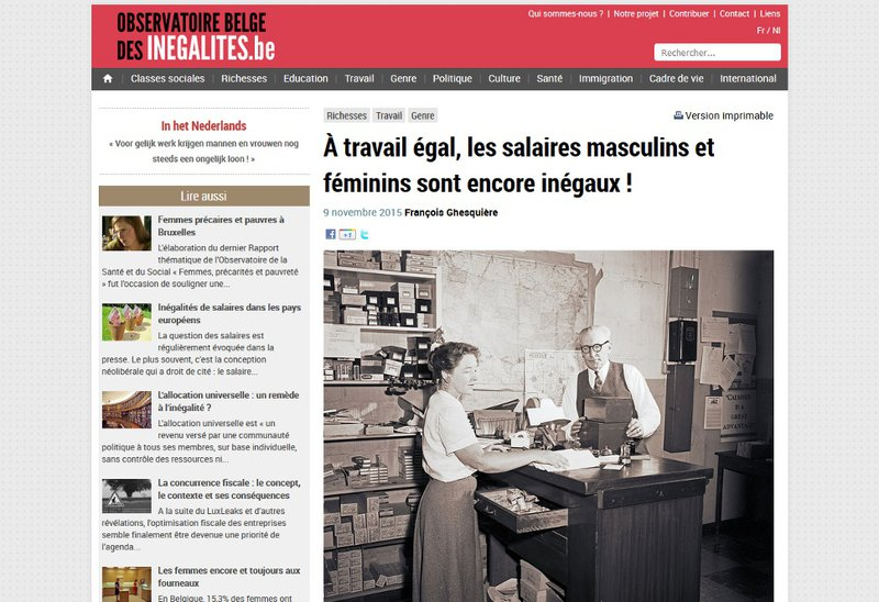 Gender pay gap - Observatoire belge des inégalités