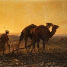 """Gustave Guillaumet (1840-1887) : """"Le Labour au soleil couchant"""""""