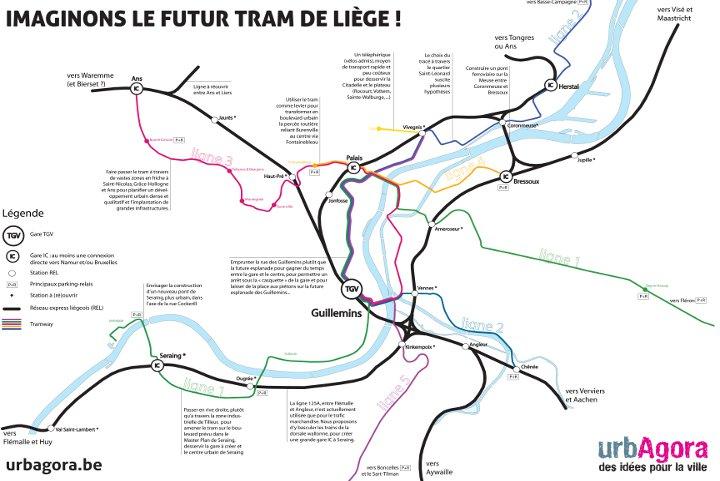 Imaginons le futur tram de Liège - carte urbAgora