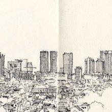 Vue de Jakarta par le dessinateur Yanoeya (c)