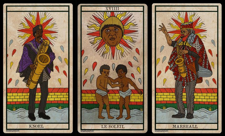 "King Khan et Michael Eaton : 3 cartes du ""Black Power Tarot"""