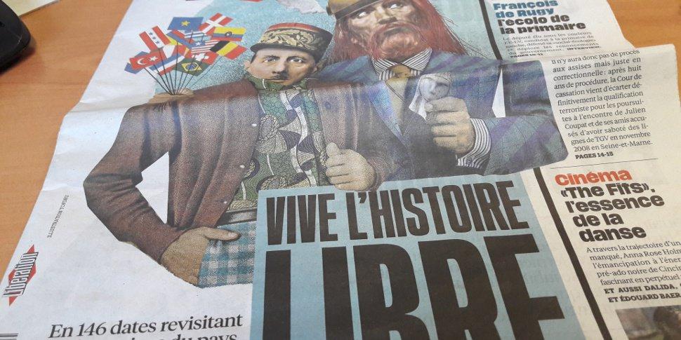 """couverture de Libération """"Vive l'Histoire libre"""" (janvier 2017)"""