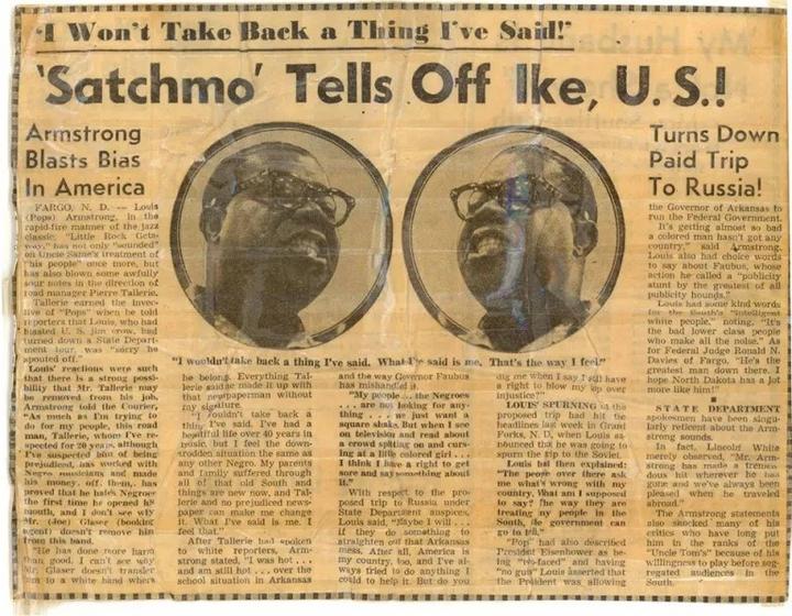 """Louis Armstrong article de journal sur les """"Little Rock Nine"""""""