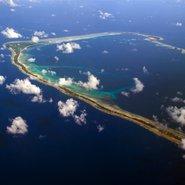 Vue aérienne de Majuro, un des atolls des îles Marshall