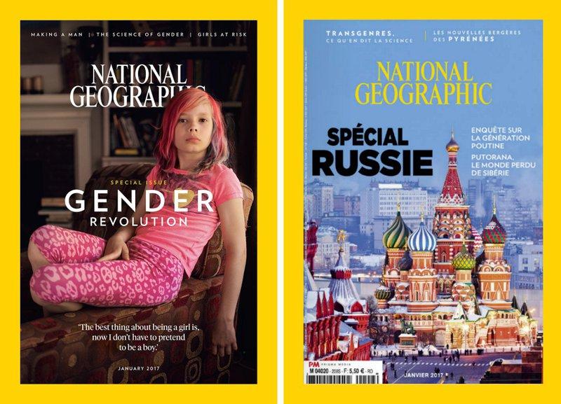 les couvertures américaine et française du National geographic de janvier 2017