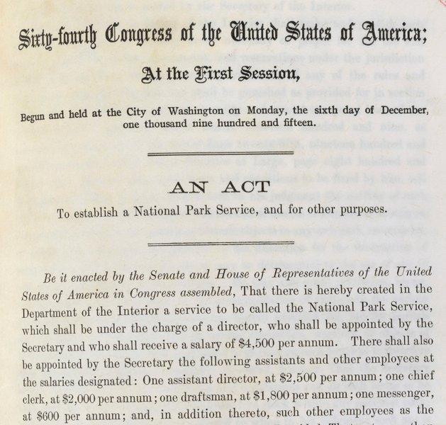 National Park Service - acte du Congrès américain d'août 1916