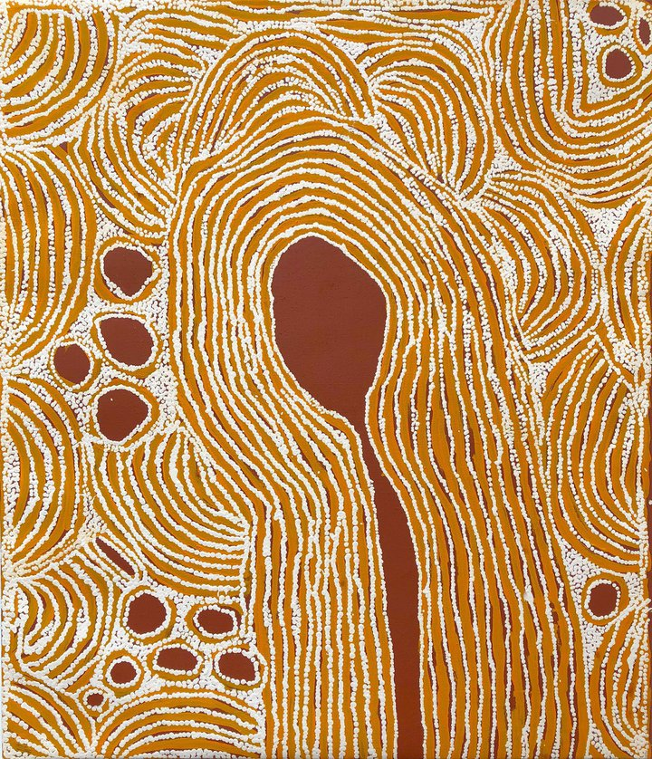 3. Ningura Napurrula. Titre : Pregnant women - Sacred Rockholes. Format : 107 x 91 cm. © Photo : Aboriginal Signature Estrangin gallery with the courtesy of the artist and Papunya Tula Artists.