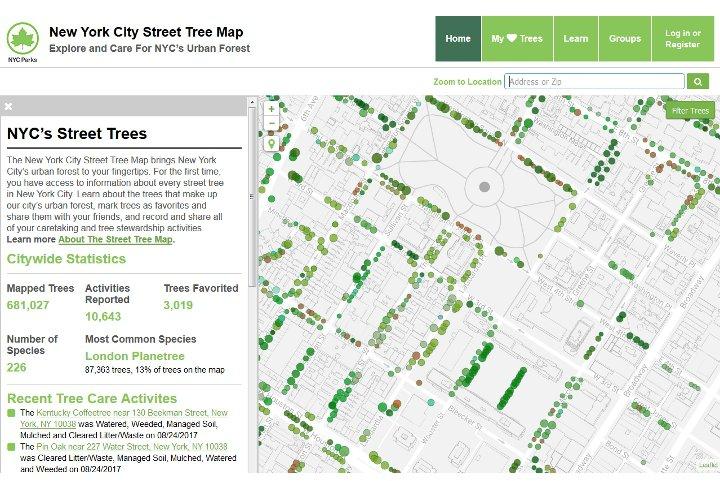 New York City Street Tree Maps - carte des arbres de rues à New York