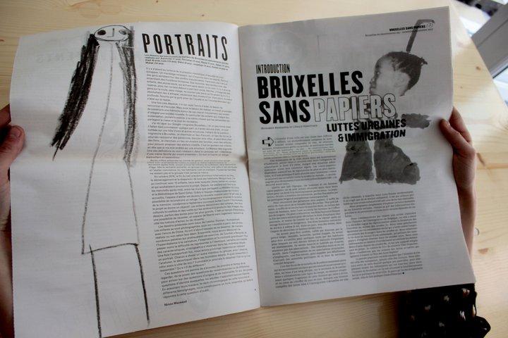 """Ninon Mazeaud - autoportraits d'enfants migrants dans le journal """"Bruxelles sans-papiers"""" (I.E.B.)"""