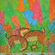 tartines kinshasa © Pili Pili Mulongoy gazelles au bord de l'étang 1971