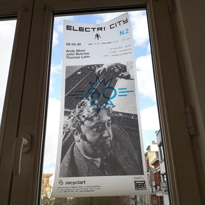 Recyclart - affiche Electri City par Harrisson (avril 2000)