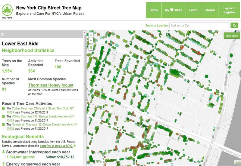 revue du web - NYC Street Tree Map