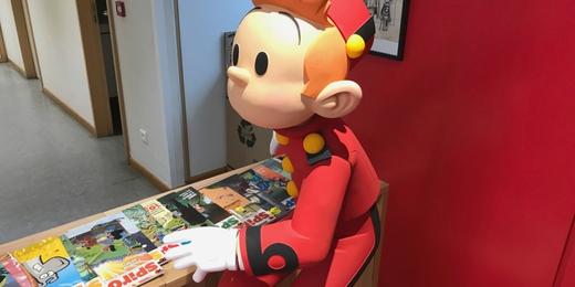 Spirou dans les bureaux des éditions Dupuis