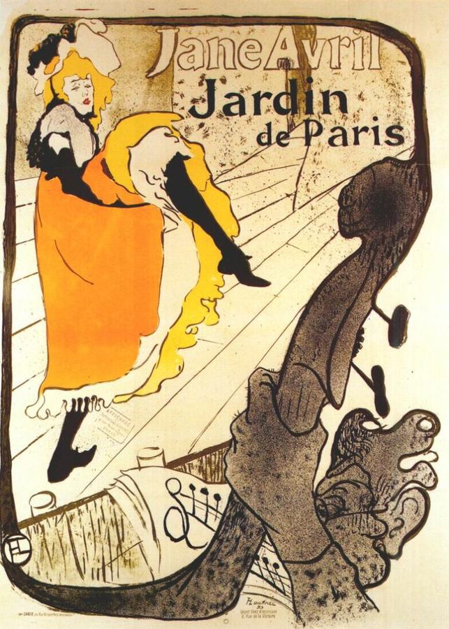 Toulouse-Lautrec - Jane Avril au jardin de Paris - affiche (1893)