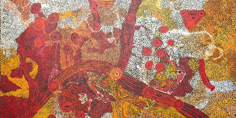Sylvia Kanytjupai Ken. Titre : Seven Sister Dreaming Time stories. Format : 198 x 152,5 cm. © Photo : Aboriginal Signature Estrangin gallery with the courtesy of the artist and Tjala Arts (APY land).