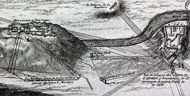 gravure de Huy dans l'Atlas Ratelband de 1735