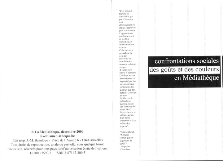 """Cecil Taylor - """"Ce n'est pas de la musique"""" 2 - brochure La Médiathèque (c) 2000"""