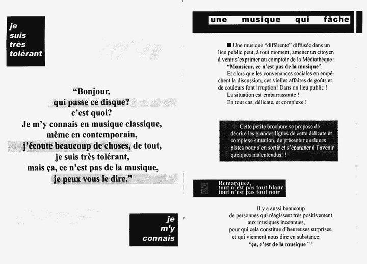 """Cecil Taylor - """"Ce n'est pas de la musique"""" 3 - brochure La Médiathèque (c) 2000"""