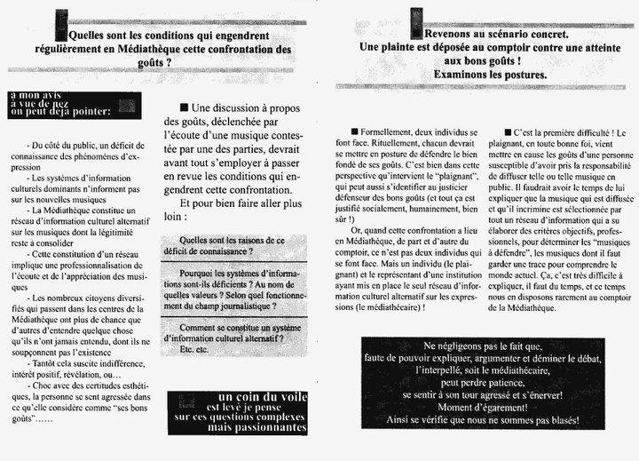 """Cecil Taylor - """"Ce n'est pas de la musique"""" 4 - brochure La Médiathèque (c) 2000"""