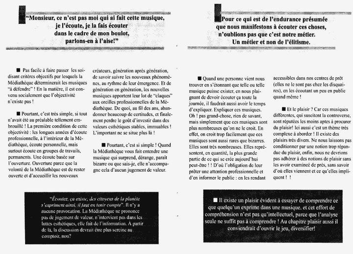 """Cecil Taylor - """"Ce n'est pas de la musique"""" 5 - brochure La Médiathèque (c) 2000"""