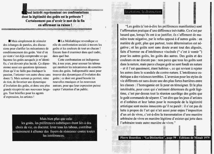 """Cecil Taylor - """"Ce n'est pas de la musique"""" 6 - brochure La Médiathèque (c) 2000"""