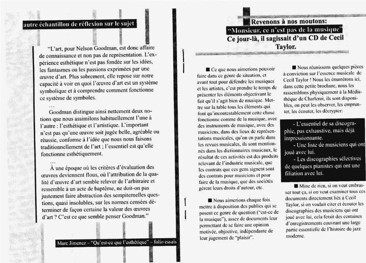 """Cecil Taylor - """"Ce n'est pas de la musique"""" 7 - brochure La Médiathèque (c) 2000"""