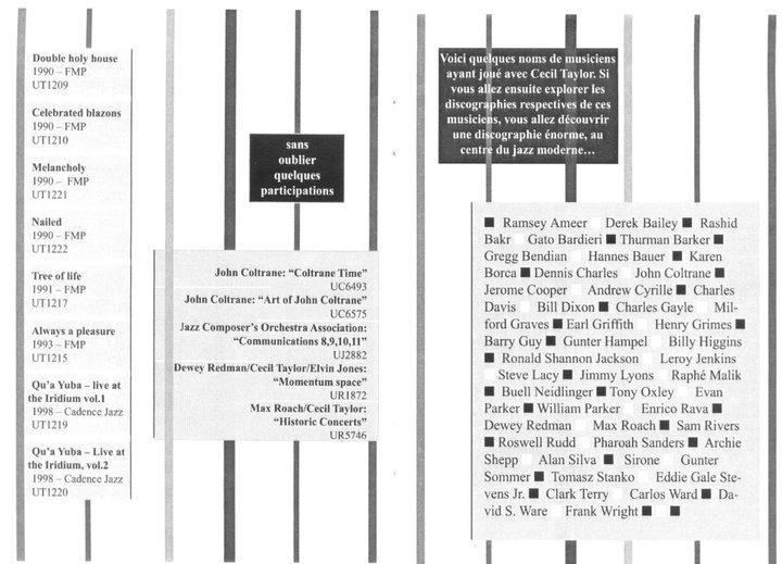 """Cecil Taylor - """"Ce n'est pas de la musique"""" 8 - brochure La Médiathèque (c) 2000"""