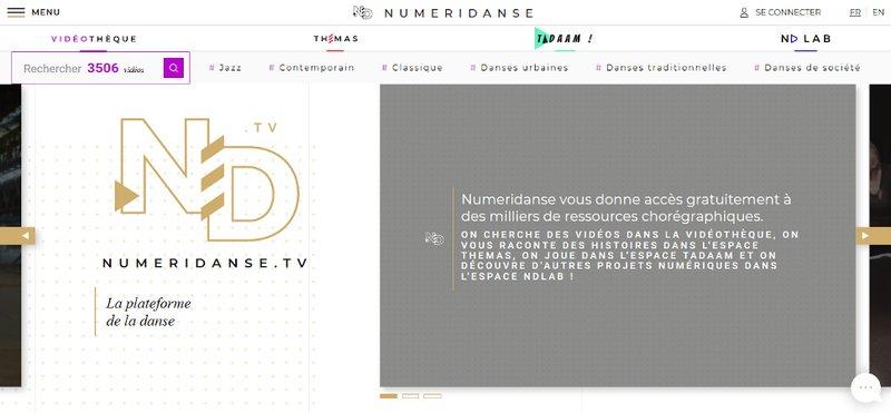 """capture d""""écran site Numeridanse, mars 2020"""