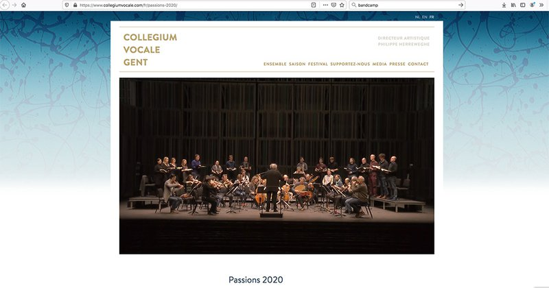 capture ecran site Collegium Vocale 2020