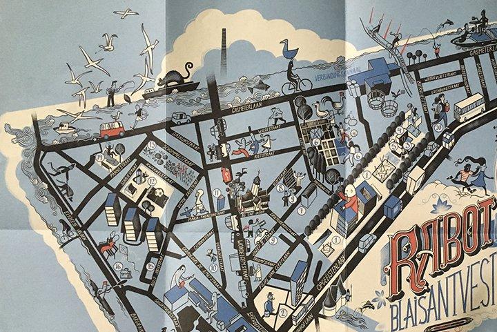 Carte du quartier du Rabot par l'illustrateur gantois Peter Goes
