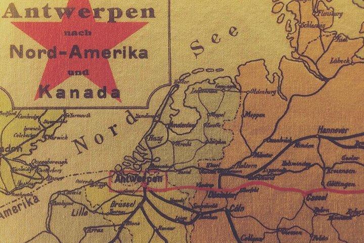 Carte des routes de migration vers Anvers
