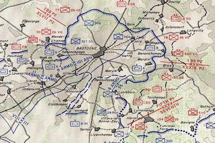 Bataille des Ardennes - carte du corridor de Bastogne au 2 janvier 1945