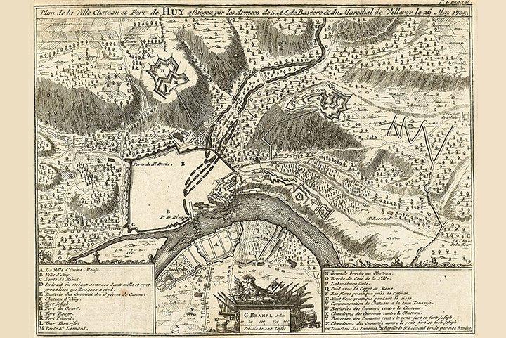 Carte du siège de Huy en 1705 par Gillius Brakel