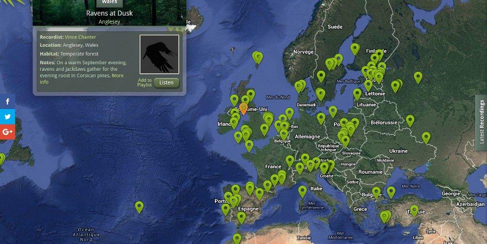 capture d'écran du site Nature Sound Map