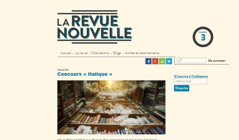 """site Revue nouvelle - concours écriture """"Italique"""""""